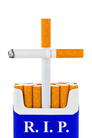 killing cancer: Grave made of cigarettes isolated on white background