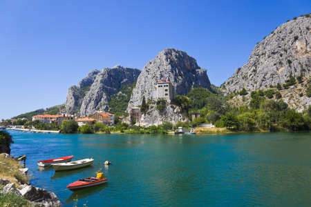 Town Omis in Croatia - abstact travel background photo