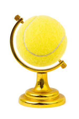 ball like: Tennis ball like a globe isolated on white background Stock Photo