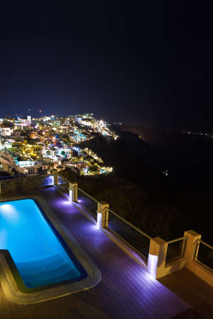 Santorini night - Greece vacation background Stock Photo - 9856280