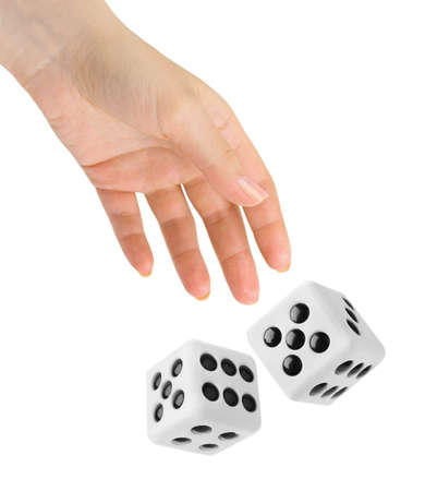 rolling dice: Hand throwing two big dices isolated on white background Stock Photo