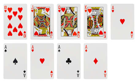 king and queen of hearts: Playing cards - isolated on white background