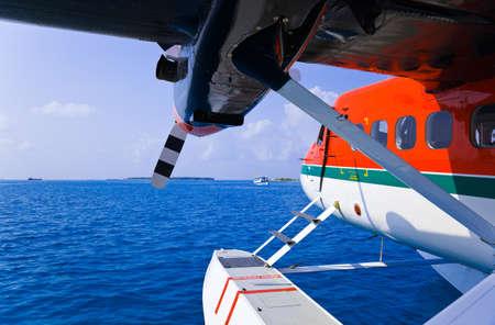 Seaplane at Maldives - transportation background Stock Photo - 9856183