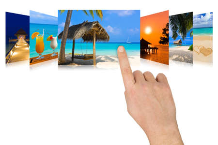 Hand scrolling summer beach images - nature and tourism concept (my photos) photo