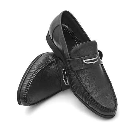 clasps: Black shoes isolated on white background