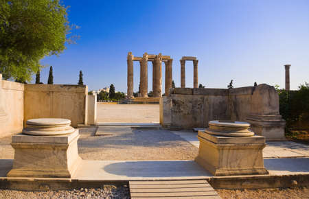 athens: Temple of the Olympian Zeus at Athens, Greece - travel background