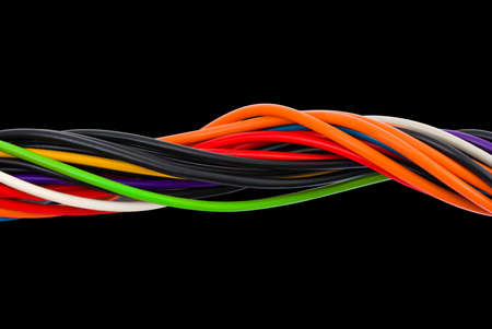 Multicolored computer cable isolated on black background
