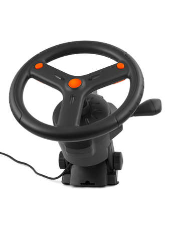 Computer steering wheel isolated on white background Stock Photo - 9856265