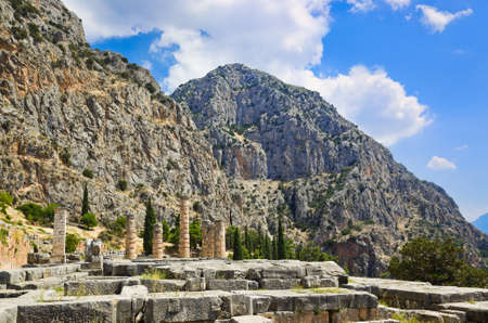 Ruins of Apollo temple in Delphi, Greece - archaeology background Stock Photo - 9856205