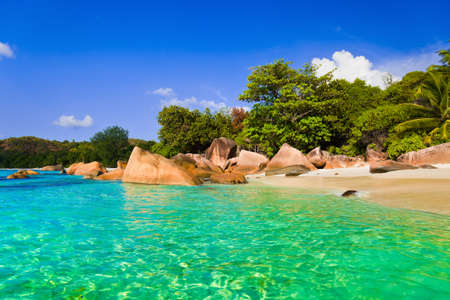 lazio: Beach Anse Lazio at Seychelles - nature background Stock Photo