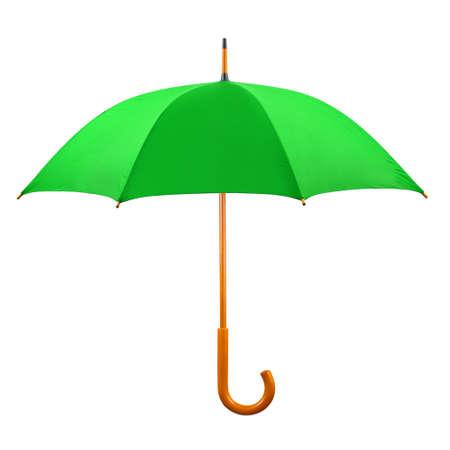 白の背景に分離された緑の傘を開いた