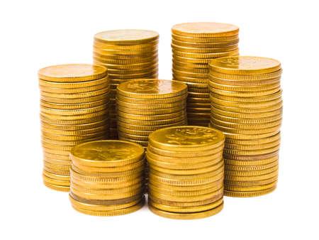 Gold coin: Đống tiền xu bị cô lập trên nền trắng