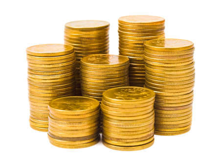 golden coins: Stacks of coins isolated on white background