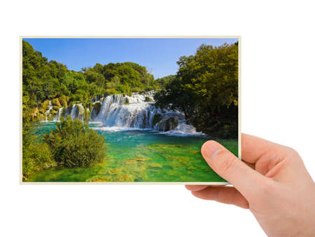 dream lake: Krka waterfall (Croatia) photography in hand isolated on white background Stock Photo