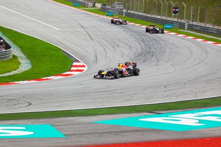 SEPANG, MALAYSIA - APRIL 10: Cars on track at race of Formula 1 GP, April 10 2011, Sepang, Malaysia Stock Photo - 9891430