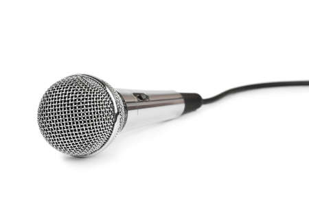 Microphone and cable isolated on white background photo