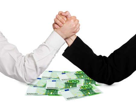 Two wrestling hands and money euro isolated on white background Stock Photo