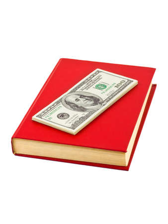 honorarium: Money and book isolated on white background Stock Photo