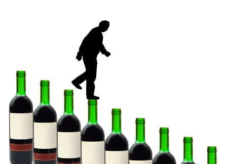Wine bottles and alcoholic man isolated on white background photo