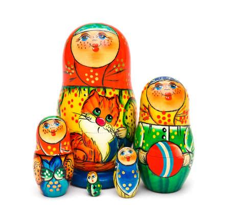 matrioska: Russian toy matrioska isolated on white background