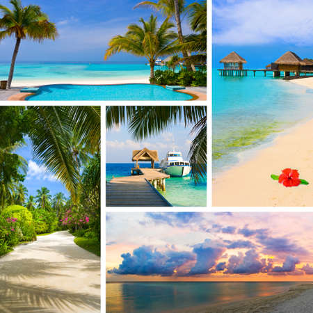 collage travel: Collage of summer beach maldives images - nature and travel background