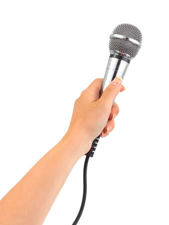commentator: Hand with microphone isolated on white background