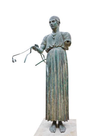 Statue Charioteer in Delphi museum, Greece - isolated on white background Stock Photo - 10078027