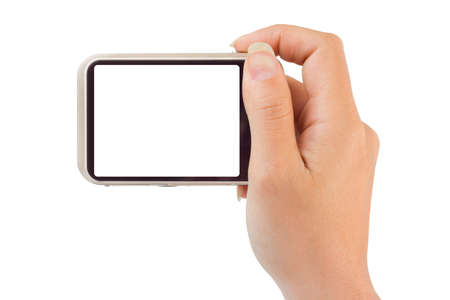 photographing: Photo camera in hand isolated on white background Stock Photo