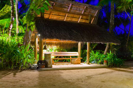 Bus stop at tropical island - travel background photo