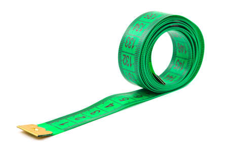 tailor measure: Green measuring tape isolated on white background Stock Photo