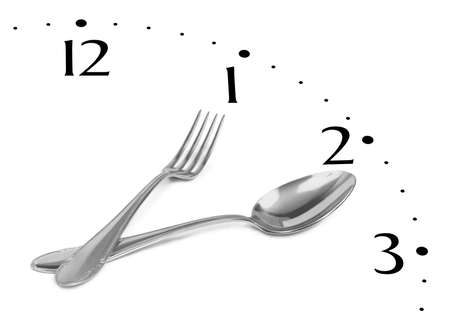 Clock made of fork and spoon isolated on white background photo