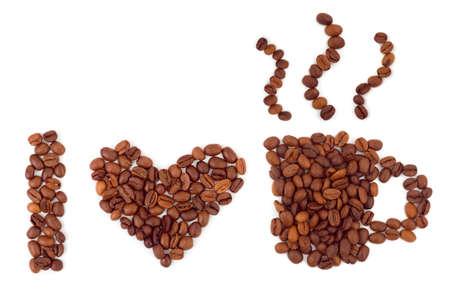 cafe colombiano: Me encanta café aislada sobre fondo blanco