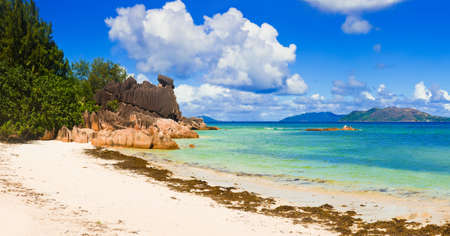 shallop: Panorama of bay on island Curieuse at Seychelles - nature background Stock Photo
