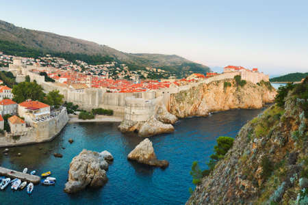 Sunset at Dubrovnik, Croatia - architecture background photo