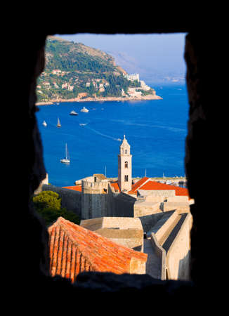 croatia dubrovnik: Window and Dubrovnik in Croatia - architecture background Stock Photo
