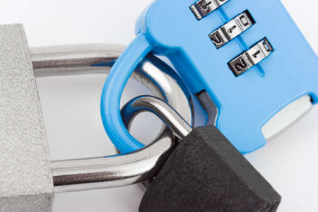 Connected locks - on white background Stock Photo - 10078614
