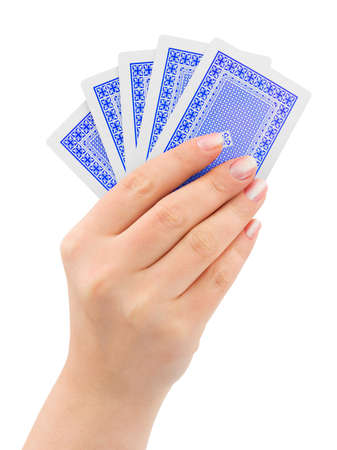 Hand with playing cards isolated on white background