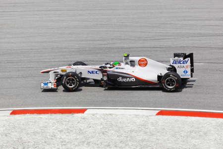 sergio: SEPANG, MALAYSIA - APRIL 8: Sergio Perez (team Sauber) at first practice on Formula 1 GP, April 8 2011, Sepang, Malaysia Editorial