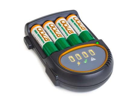 Battery charger isolated on white background photo
