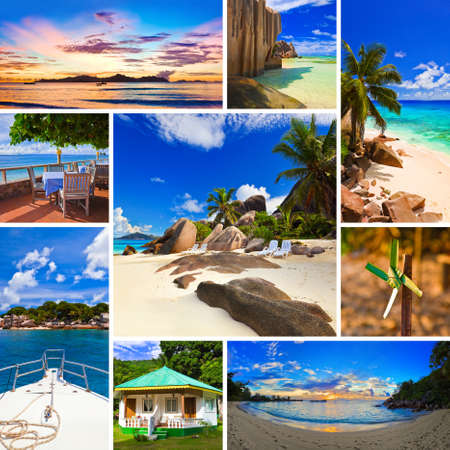 seychelles: 여름 해변 이미지의 콜라주 - 자연과 여행 배경 (내 사진) 스톡 사진