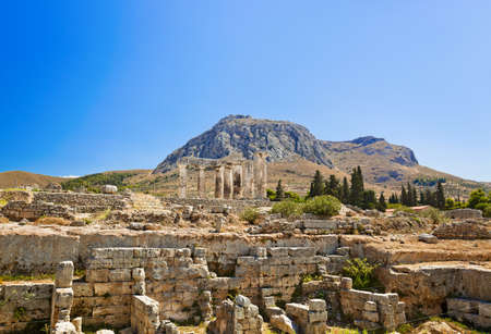 Ruins of temple in Corinth, Greece - archaeology background photo
