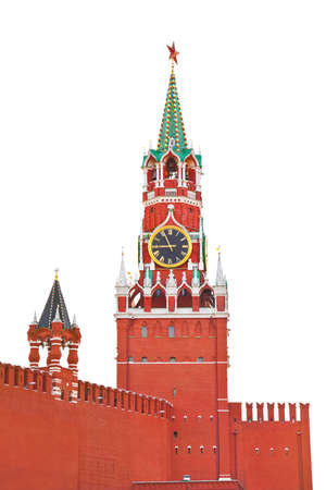 Spasskaya tower in Kremlin (Moscow, Russia) isolated on white background Stock Photo - 10284724