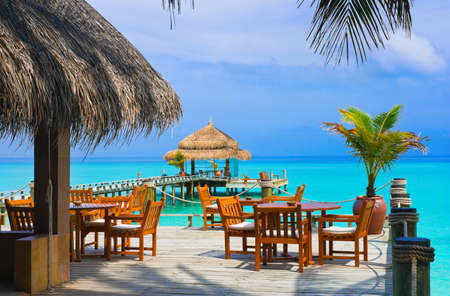 caribbean: Cafe on the beach, ocean and sky Stock Photo