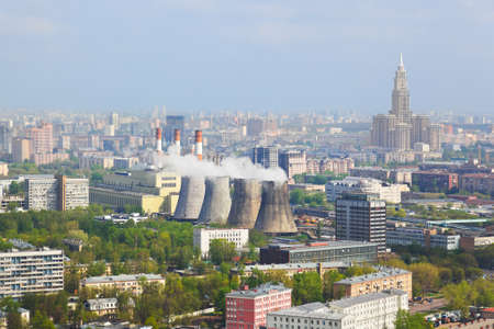 Power station in city Moscow, Russia - aerial view photo