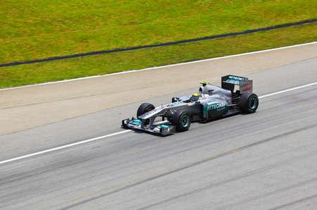 SEPANG, MALAYSIA - APRIL 8: Niko Rosberg (team Mercedes Petronas) at first practice on Formula 1 GP, April 8 2011, Sepang, Malaysia Stock Photo - 10581562