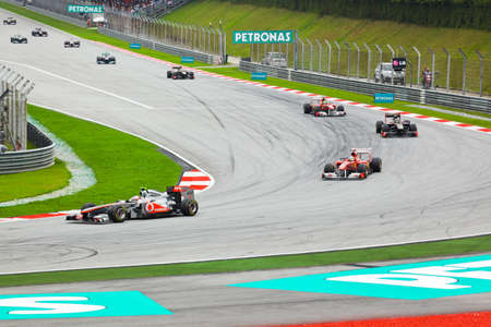 SEPANG, MALAYSIA - APRIL 10: Cars on track at race of Formula 1 GP, April 10 2011, Sepang, Malaysia