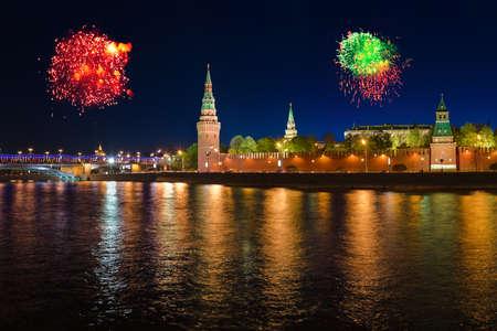 kremlin: Firework over Kremlin in Moscow (Russia)