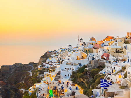 Santorini sunset (Oia) - Greece vacation background photo