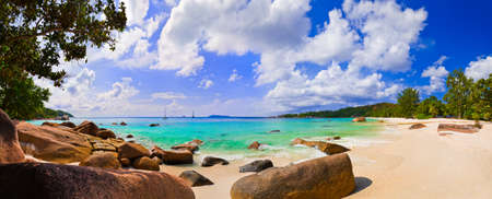 lazio: Panorama of beach Anse Lazio, Seychelles - vacation background Stock Photo