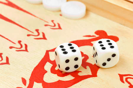 double the chances: Macro of retro backgammon game and dices